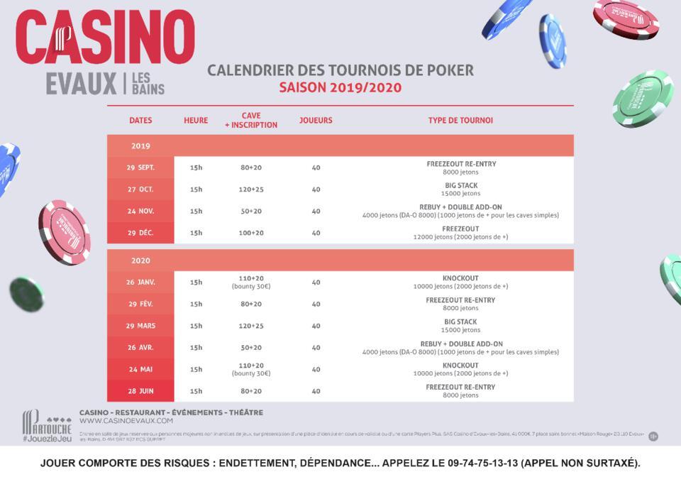 calendrier des tournois de poker