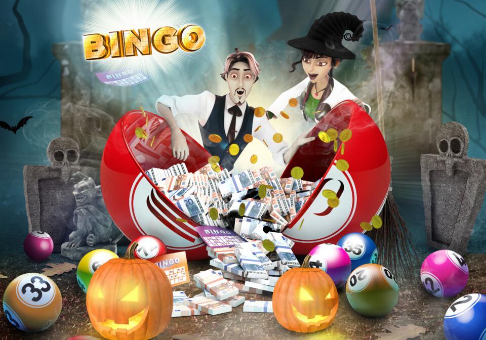 Couple déguisés en vampire et sorcière, des liasses de billets, citrouilles et cartons bingo