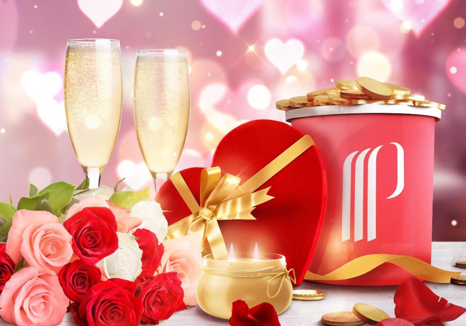 coupe de champagne, jetons, cœurs, roses
